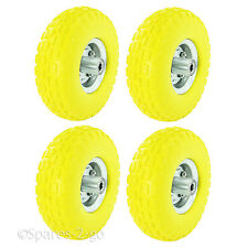 "4 x 10"" Solid Wheelbarrow Wheel Tubeless Barrow Tyre Burst Puncture Proof Spare"