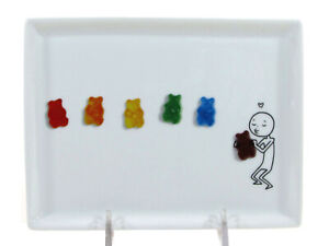 """CB2 OLIVER - PRIDE 6.5"""" Appetizer Plate Rainbow Gummy Bears Crate Barrel 489-951"""