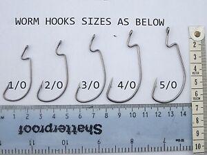 Fishing Worm Hooks Carbon Steel Barbed Weedless Pike Sea Beach Trolling Cod