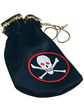 Kids Pirate Coin Pouch Skull & Crossbones Fancy Dress Pirates Of The Caribbean