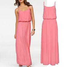 tolles MAXI Kleid Gr.40/42 Maxikleid Sommerkleid Viscose Apricot Lang Strand
