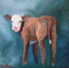 Original Oil Painting On Canvas Impressionism Impasto Cow Farm Animal Art 10x10