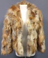 BOUTIQUE Vintage Red Fox Fur Hip Length Hook Front Closure Lined Fur Coat Sz L