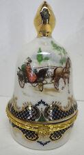 Schmuckdose Dose Porzellan Glocke Trojka Pferde Kutsche H10cm
