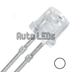 15 x White LED 5mm Flat Top - Super Bright