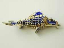 Rare articulated Carp fish pendant Chinese silver gilt blue enamel