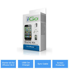 Starter kit for Apple iPhone 3 & 4 USB Car Charger, Sync Cable, Screen Protecter