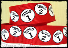 "Thing 1 & Thing 2  RIBBON. 7/8"" Grosgrain.  RED. Dr Seuss. Cat in the Hat. Craft"