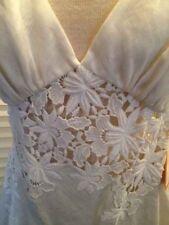 Ingwa Melero White Linen Cut Out Flower Halter Top 8 NWT