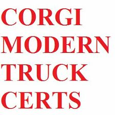 Corgi Heavy Haulage Modern Certificates Only Lots for Sale Choose Which You Need