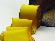"2.5"" Earth SILK RIBBON Bias HAND DYED 1yd 134 Zoom Gold"