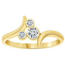 Round Cubic Zirconia Bypass Mickey Mouse Ring 14K Yellow Gold Over