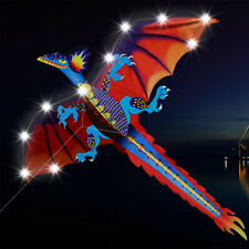 LED Lights Dragon Kite outdoor Easy to Fly Single Line With Tail and flying tool