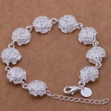Bracciale Amore Cuore Donna placc. Argento 925 con 9 rose + orecchini in regalo