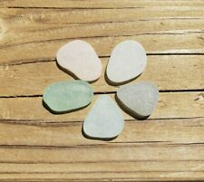 Sea Glass. 5 pieces. Light shades. Surf-tumbled & frosted. JQ. Genuine.