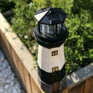 Black Solar Lighthouse Rotating LED Light Decor Outdoor Indoor R3Q2 Y6T7 N8U5