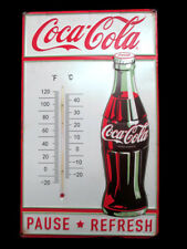 Coca-Cola Embossed Tin Thermometer Sign Pause Refresh Contour Bottle- BRAND NEW