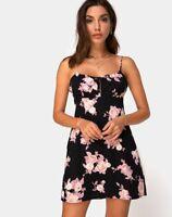 MOTEL ROCKS Gabby Velvet Dress in Laser Pink Sequin (mr69