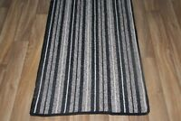 Quality Black Stripe Carpet Heavy Domestic Hall / Stairs Extra Long Cut To Size