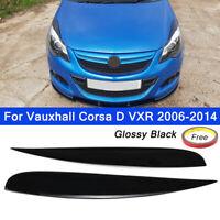 Headlamp Eyebrows Eyelids Spoilers Glossy Black For Vauxhall Corsa D VXR 06-14