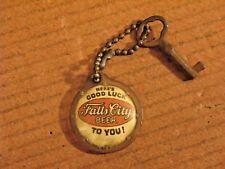VINTAGE Falls City Beer Four Leaf Clover Good Luck Key Chain
