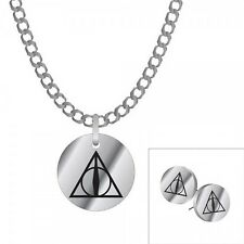 Harry Potter Deathly Hallows Pendant Necklace and Stud Earring Set