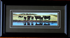 Small Framed Cattle Cows Black Angus Reflections Print Landscape Picture Farm