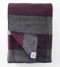 100% Cotton Striped Blanket / Throw Thick Winter Warm 150 x 200cm 450 gr/m2