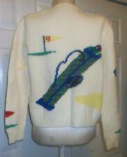 Vintage Handmade Knitted Wool Ladies Golf Sweater Golf Bag Tee Balls