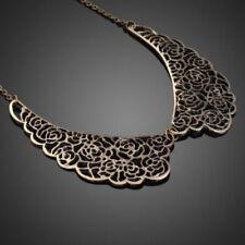 Statement Vintage Carved Bib False Rose Hollow Collar Choker Pendant Necklace