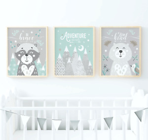 Woodland Nursery Prints. Woodland Animal Prints. Turquoise & Grey Nursery Prints