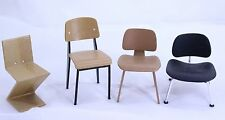 Eames Miniature Doll House Furniture set of 4 DCW LCW Zig Zag Chair 1:12 Scale