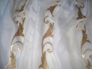 Hochwertige & Moderne Gardine Voile  Weiß / Gold / Silber nach Maß NEU