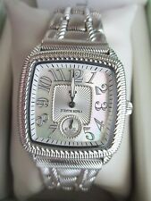 Judith Ripka SILVER Mother Of Pearl Watch Bracelet Square Face New AVG Box RARE