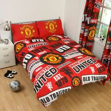 MANCHESTER UNITED FC 'PATCH' DOUBLE DUVET COVER NEW MAN UTD BEDROOM KIDS ADULTS