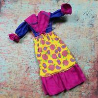 Vintage Barbie Doll Size Clothes Purple Yellow Floral Western Dress Clone Modest