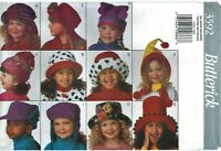 Butterick 3592 320 Girls Boys WINTER HATS Size S M L sewing pattern UNCUT FF NEW