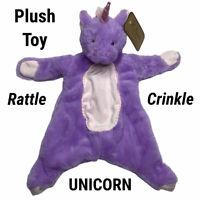 New K Luxe Purple Unicorn Rattle Crinkle Security Blanket Flattie Lovey Kellytoy