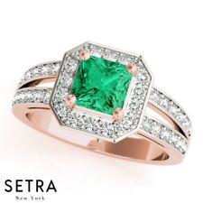 Genuine Halo 14k Gold Center Princess Cut Emerald Gem & Diamonds