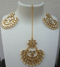 Indian CZ Pearl Gold Plated Kundan Bollywood Pakistani Wedding Tikka Earrinings