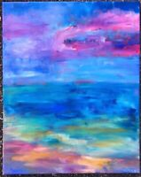 BEACH IN A DREAM Original Acrylic Abstract Landscape Painting 16x20 Canvas ART