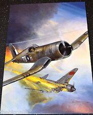 WWII Aircraft Corsair II shooting down a Ki-43 'Oscar' Large Postcard