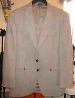 Custom Tailored Mens Brown Tweed Western Cowboy Sport Coat Jacket Blazer Sz 42R