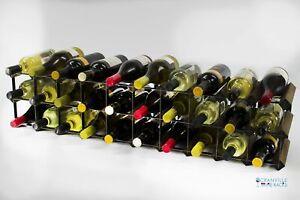 Cranville wine rack 20/30 bottle dark oak stain wood black metal assembled