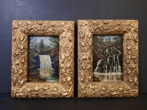 Pair of Antique 19th century Oil paintings on board by British artist. Signed