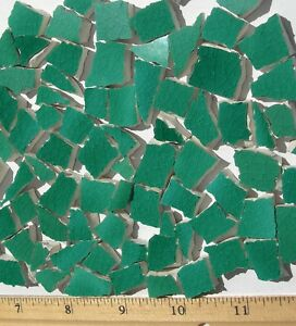 Broken - Cut China Mosaic Tiles - 110 Green Irregular Tiles, Uneven Edge