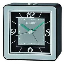 Seiko QHE098K Bedside Snooze Alarm Clock with Flashing Light - Black/Silver