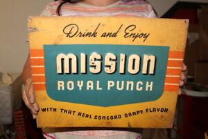"""Vintage 1940's Mission Royal Punch Soda Pop Orange 14"""" Embossed Metal Sign"""