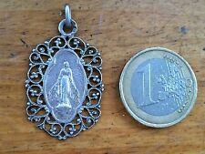Medaille Vierge.Lourdes Argen Volutes Filigrane Poincon Virgo Maria Medal Silver