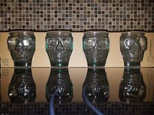 Set Of 4 Vidrios San Miguel 100% Recycled Skull Glasses  Green 400 cc Halloween